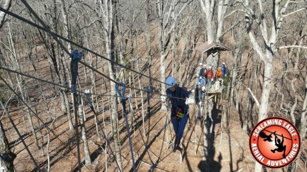 App Studios Outing at Screaming Eagle Aerial Adventures Walking Tight Rope Bridge